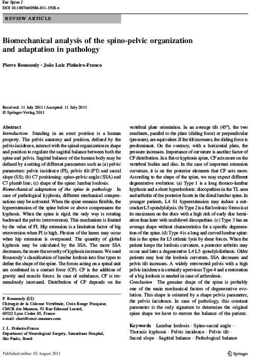 Biomechanical analysis of the spino-pelvic organization and adaptation in pathology